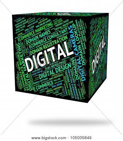 Digital Word Represents High Tec And Computer