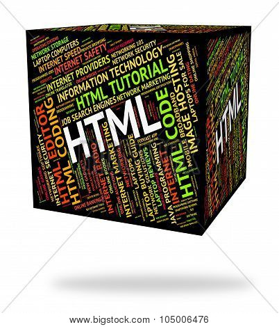 Html Word Means Hypertext Markup Language And Code