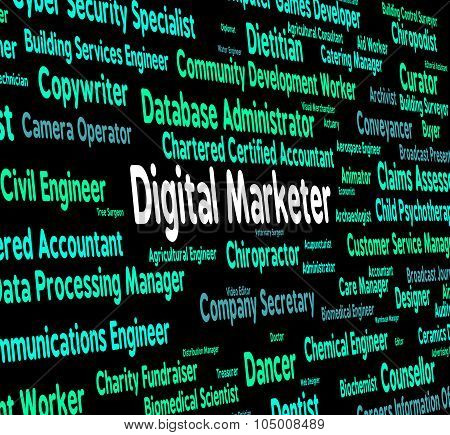 Digital Marketer Shows Word Recruitment And Salesman