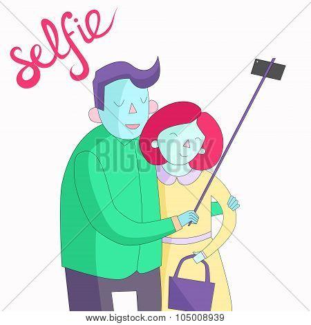 selfie photo illustration vector vivid color