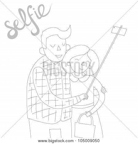 selfie photo illustration vector black and white