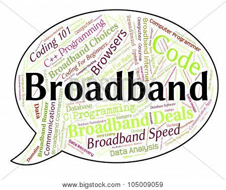 Broadband Word Represents World Wide Web And Communication