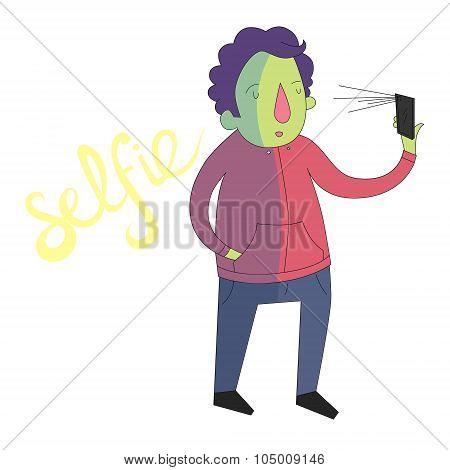 selfie man photo illustration vector vivid color