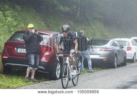 The Cyclist Matthew Busche Climbing Col Du Platzerwasel - Tour De France 2014