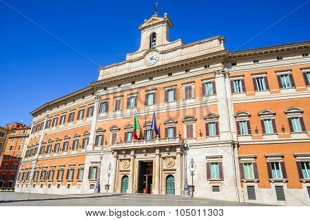 Palazzo Montecitorio is a building in Rome where the seat of the Chamber of Deputies of the Italian Republic.