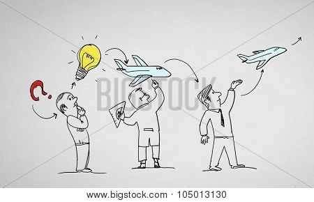Caricature image of people of different professions on white background poster