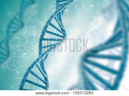Concept of biochemistry with dna molecule on blue background poster