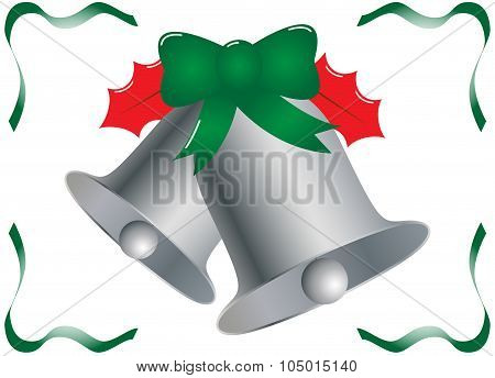 Silver Christmas Bells With Holly And Ribbons
