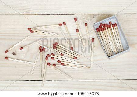Matchstick And Matchbox On Wooden Background