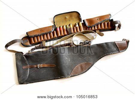 Vintage Sporting Cartridge Belt And Shotgun Bag