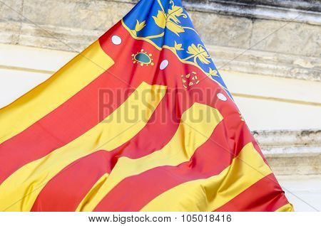 Detail Of Flag Of Comunidad Valenciana, Spain.