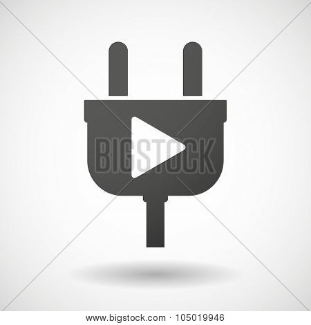 Isolated Plug Icon With A Play Sign