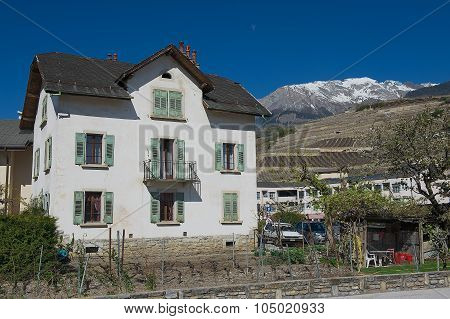 View to old residential building in Brig (Brig-Glis), Switzerland.