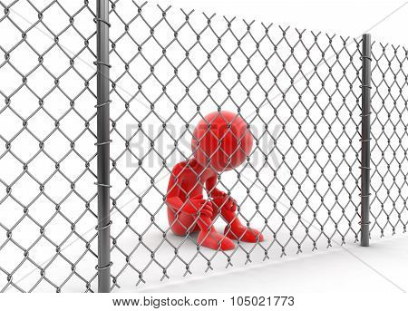 Chainlink fence and man