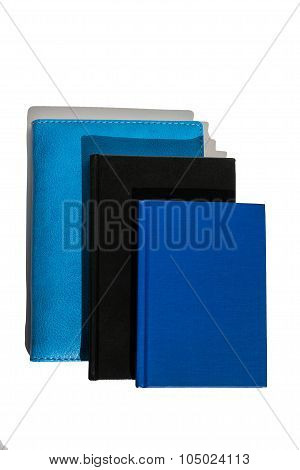 three different notebook isolated, vertical
