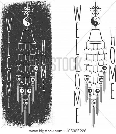 Wind Chimes. Silhouette of a wind chimes. Design element. Lettering element poster