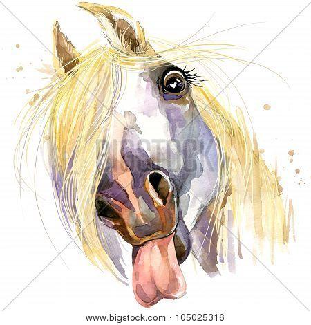 white horse kiss T-shirt graphics.