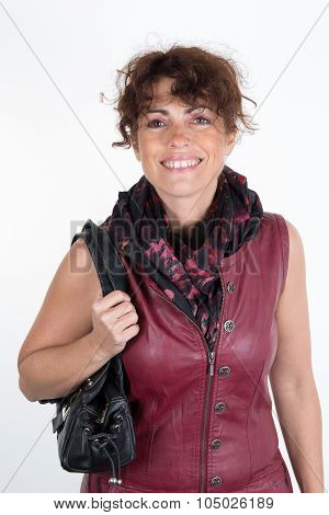 Woman Brunette With A Burgandy Dress And A Bag