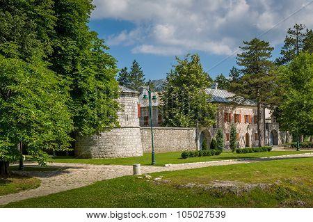 Old monastery buildings in Cetinje, Montenegro