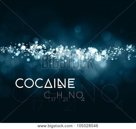 Cocaine powder with the chemical formula.