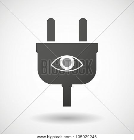 Isolated Plug Icon With An Eye