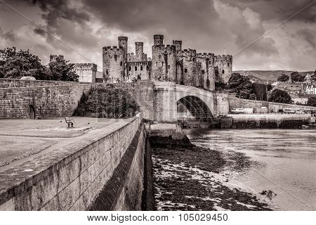 Black and white Conwy Castle