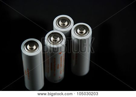 Batteries On Black Background