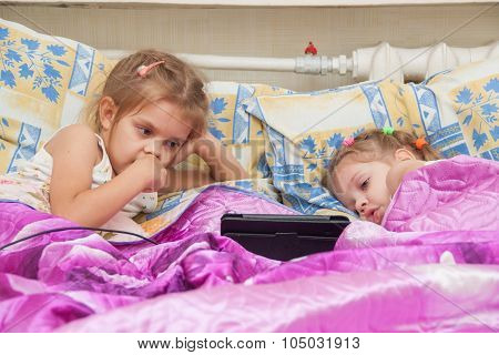 Two Girls Lying In Bed Looking At A Tablet Computer