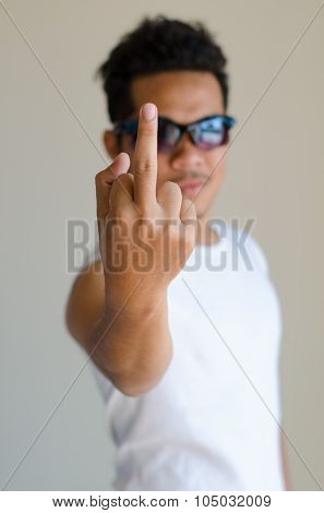 Asian Man Is Showing Fuck Off With The Middle Finger