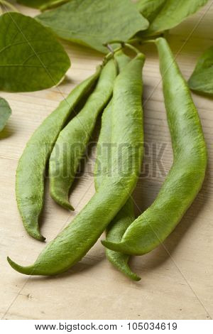 Fresh picked runner beans and leaves