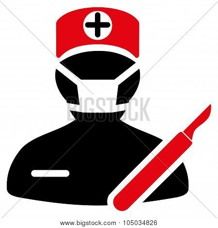 Surgeon vector icon. Style is bicolor flat symbol, intensive red and black colors, rounded angles, white background. poster