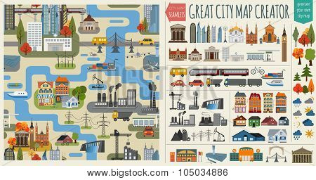 Great city map creator.Seamless pattern map and  Houses, infrastructure, industrial, transport, vill