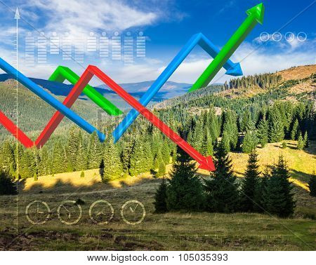 Ecology Concept 3D Graphs Over Mountain Forest
