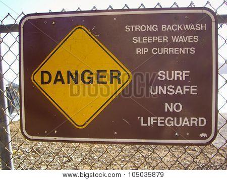 Warning Sign On California Beach