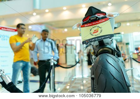 DUBAI, UAE - APRIL 18, 2014: Dubai Duty Free Car Lottery prise. Dubai Duty Free is the company responsible for the duty-free operations at Dubai International Airport