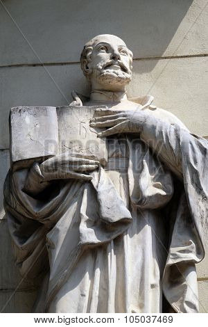 LJUBLJANA, SLOVENIA - JUNE 30: Saint Ignatius of Loyola on the portal of Saint James church in Ljubljana, Slovenia on June 30, 2015