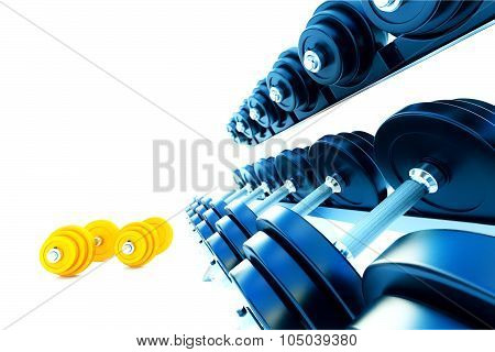 Row Of Metal Dumbells With Orange Dumbbells On White Background