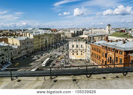 The View From The Roof On Ligovsky Prospekt And Moskovsky Train Station.russia.saint-petersburg.
