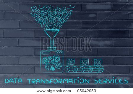data transformation services: funny illustration with factory machines processing binary code poster