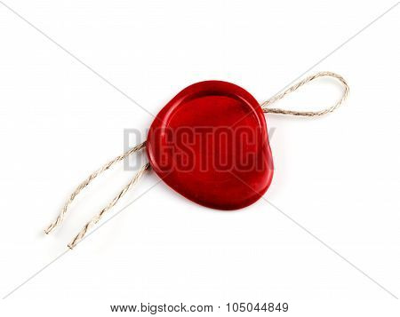 old red wax seal stamps isolated on white background