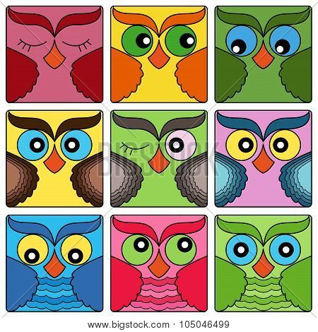 Nine Cute Owl Faces In Square Shapes