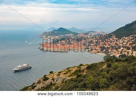 Historic city of Dubrovnik at Adriatic Sea, Croatia