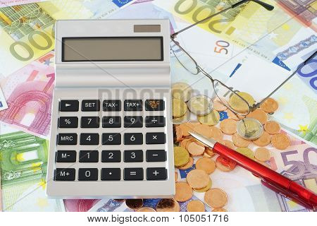 Pocket Calculator On Euro Banknotes