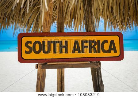 South Africa sign with beach background