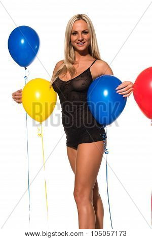 Blonde And Balloons