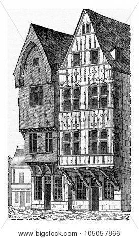 Wooden houses, a Reims, vintage engraved illustration. Industrial encyclopedia E.-O. Lami - 1875.
