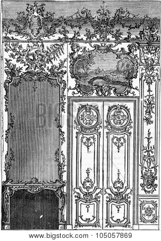 Fireplace surmounted by a mirror and Door Decoration Louis-five, vintage engraved illustration. Industrial encyclopedia E.-O. Lami - 1875.