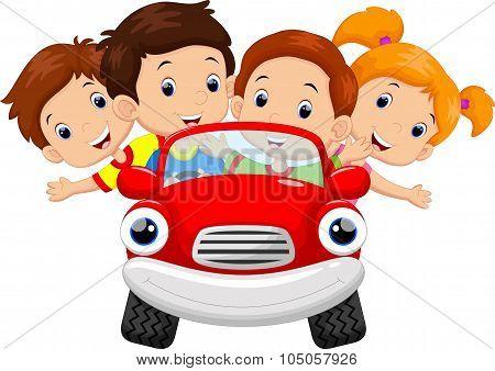 Kids driving car cartoon