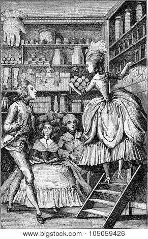 Glover perfumer or the eighteenth century, vintage engraved illustration. Magasin Pittoresque 1882.