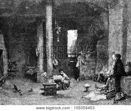 Saharan inside a dwelling, vintage engraved illustration. Magasin Pittoresque 1882.